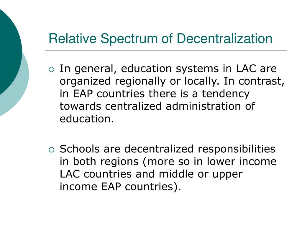 Relative Spectrum of Decentralization
