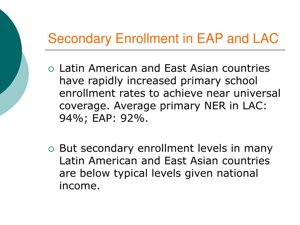 Secondary Enrollment in EAP and LAC