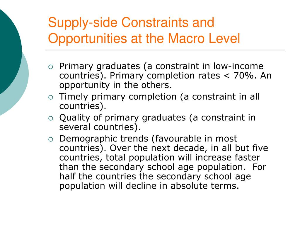 Supply-side Constraints and Opportunities at the Macro Level