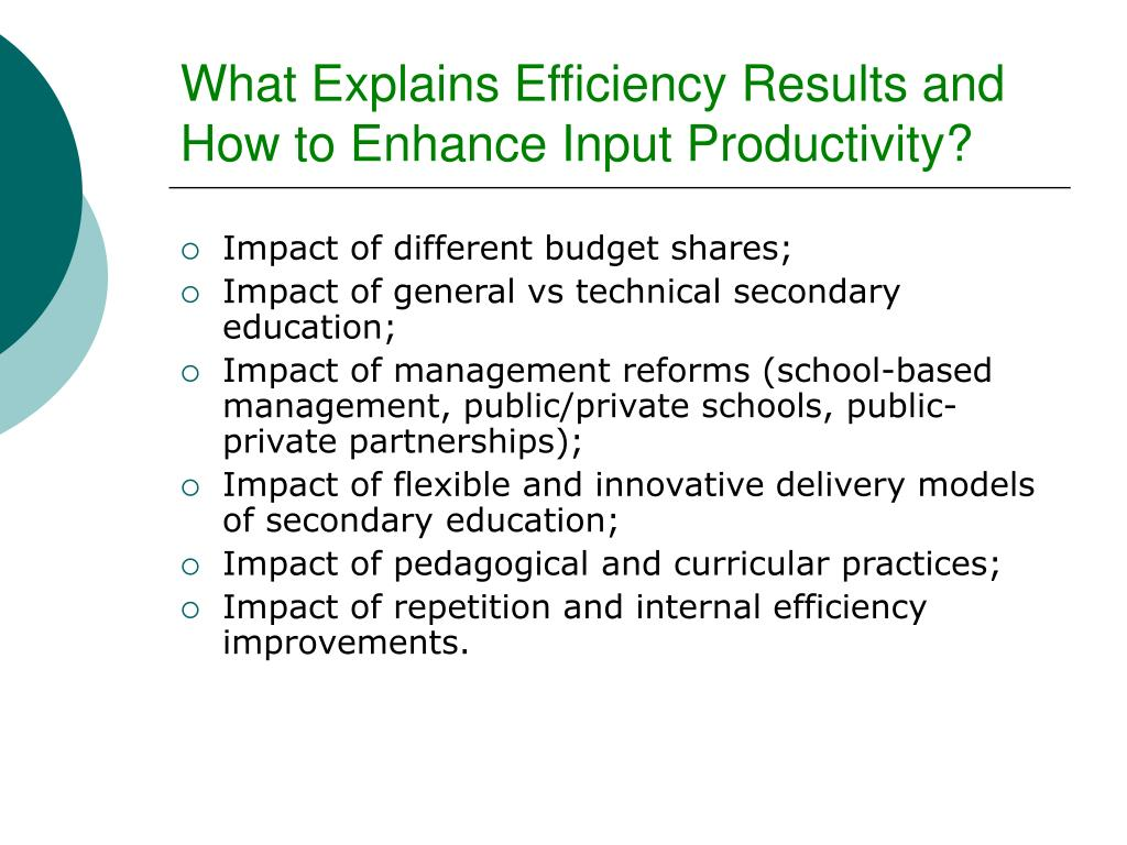 What Explains Efficiency Results and  How to Enhance Input Productivity?