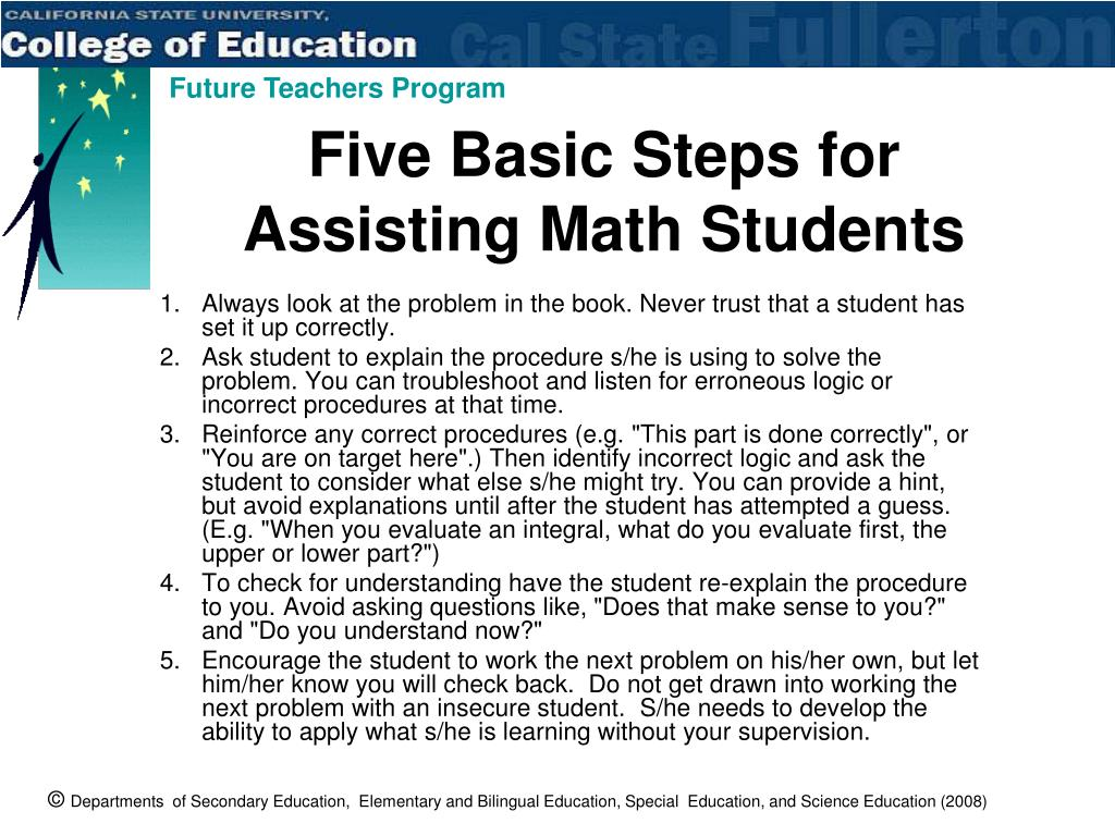Five Basic Steps for Assisting Math Students