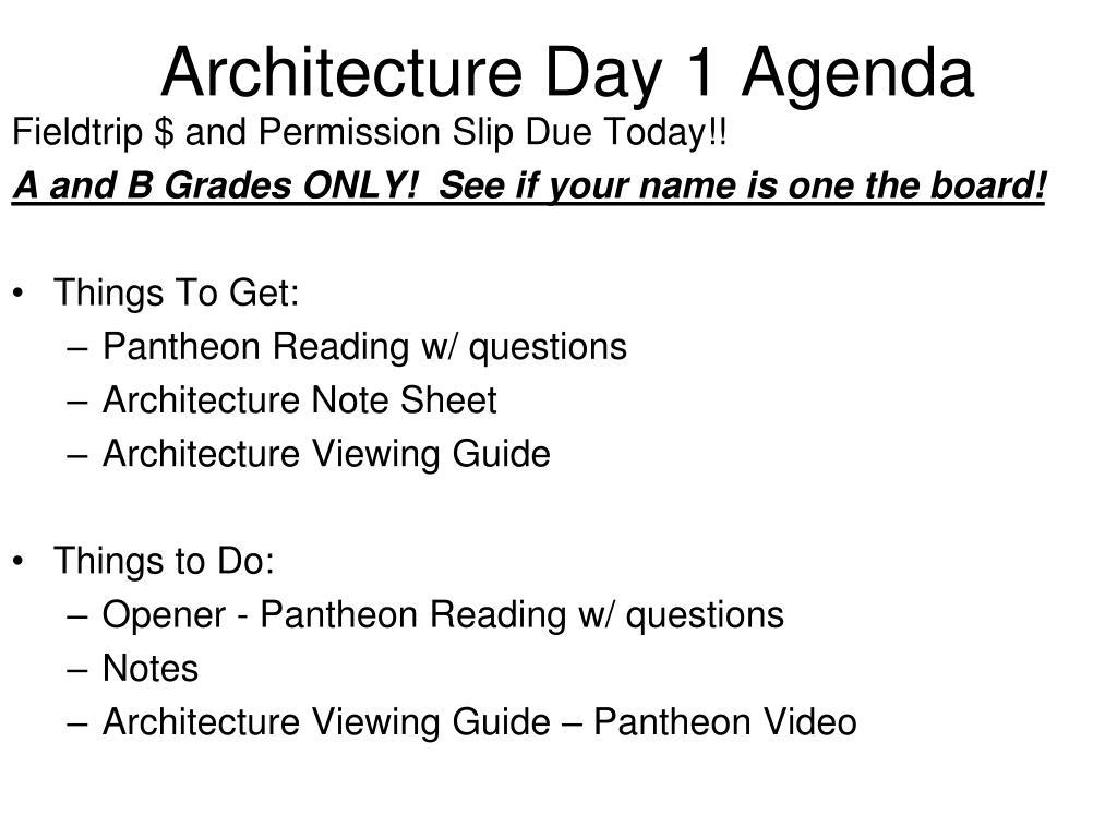 Architecture Day 1 Agenda
