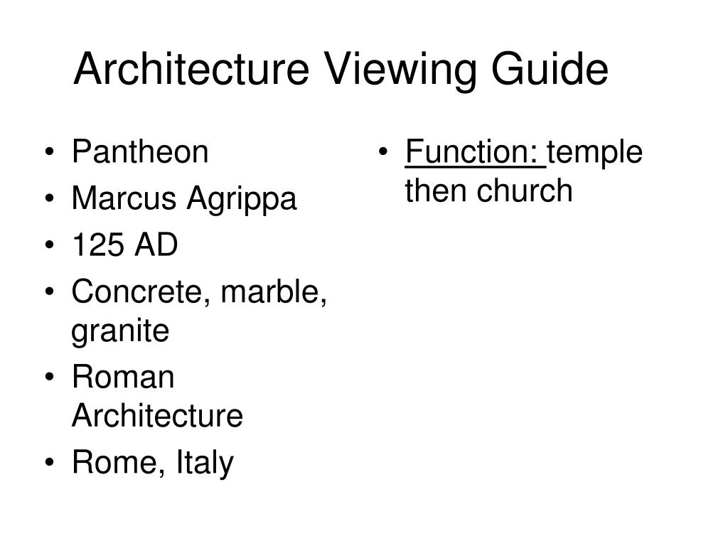 Architecture Viewing Guide