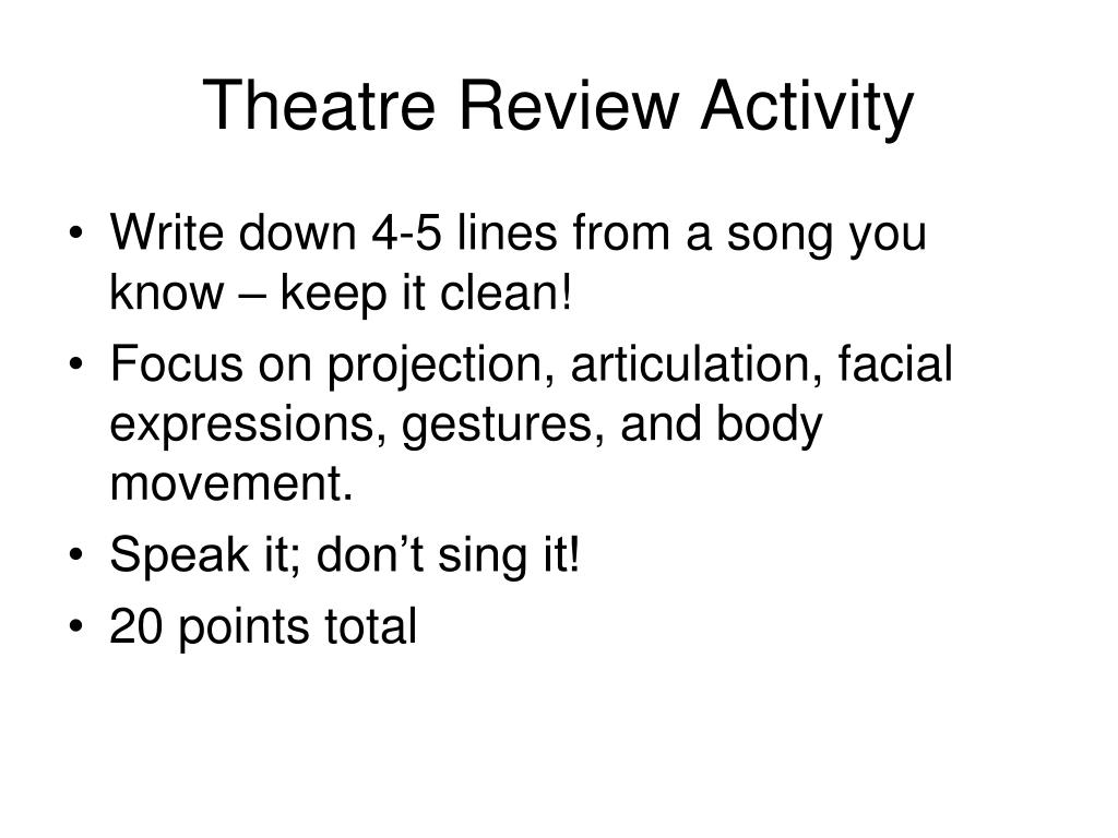 Theatre Review Activity