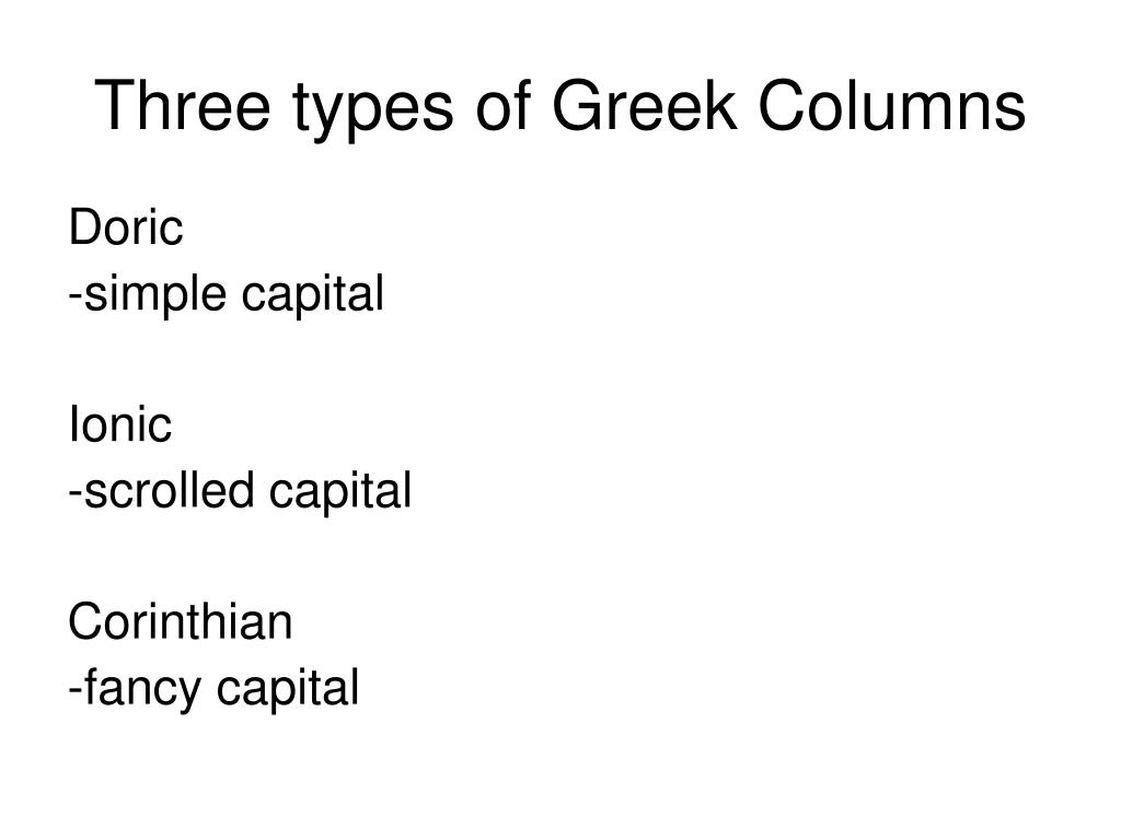 Three types of Greek Columns