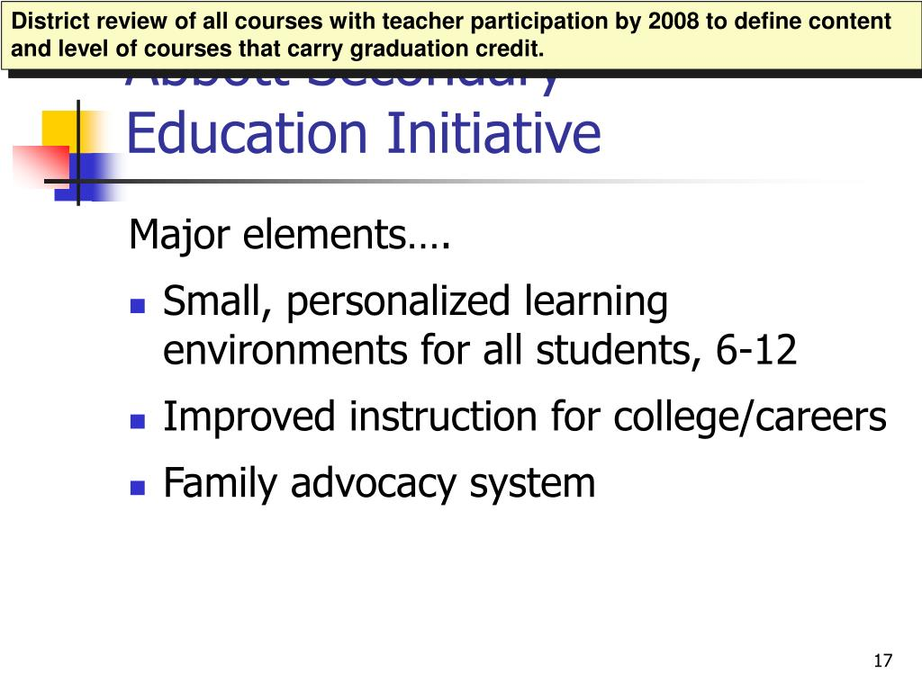 District review of all courses with teacher participation by 2008 to define content and level of courses that carry graduation credit.