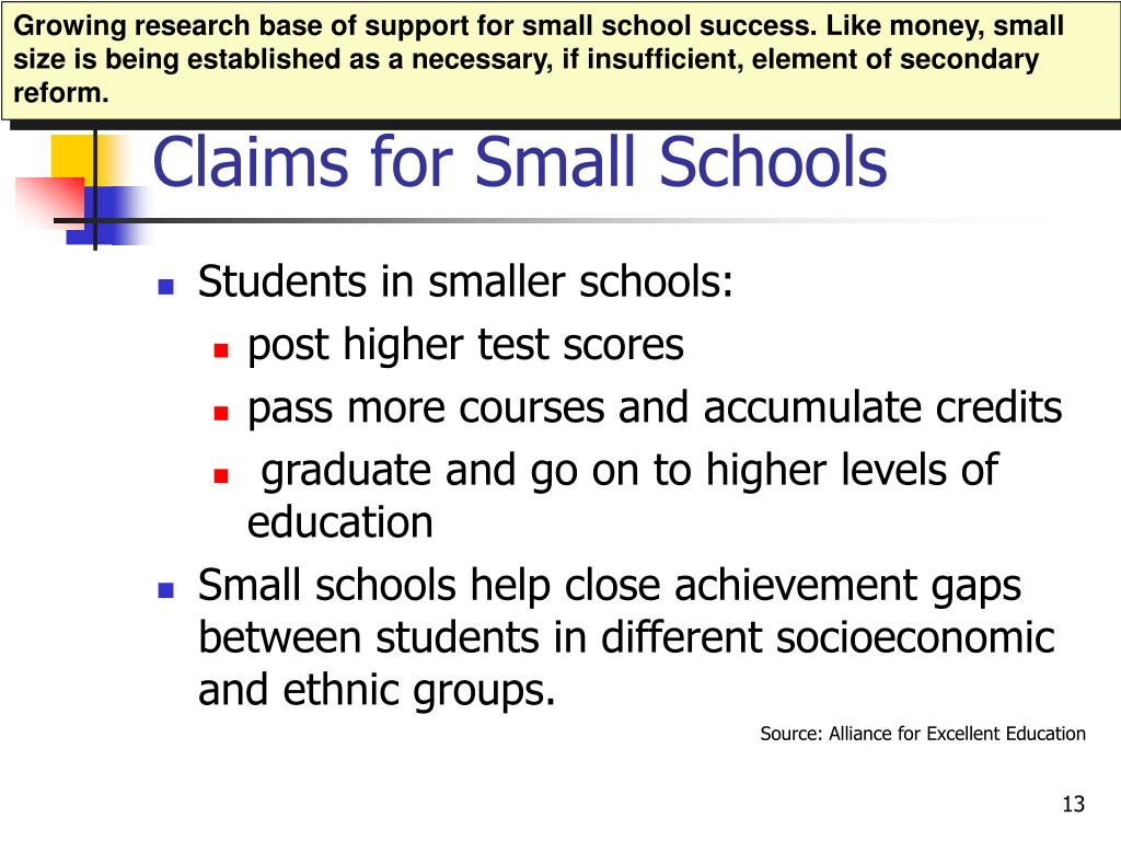 Growing research base of support for small school success. Like money, small size is being established as a necessary, if insufficient, element of secondary reform.