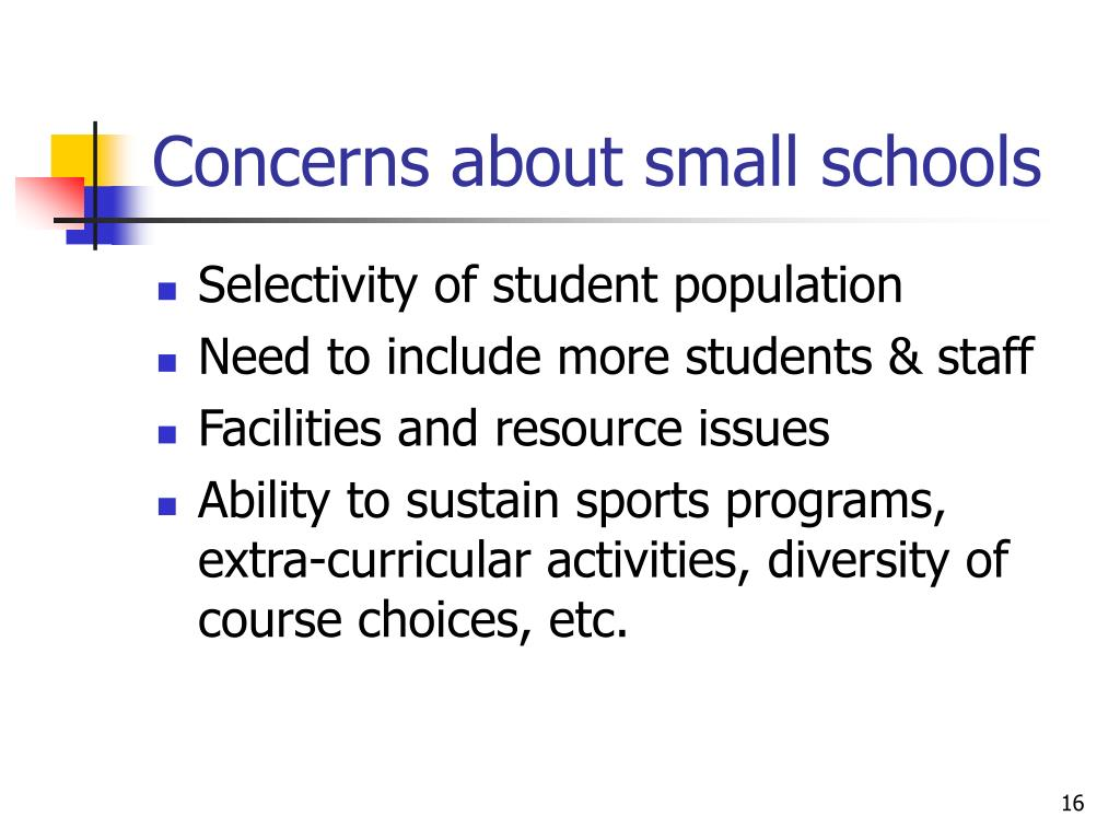 Concerns about small schools