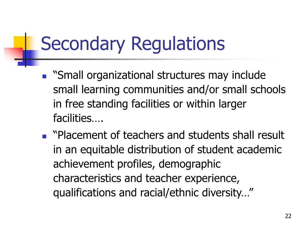 Secondary Regulations