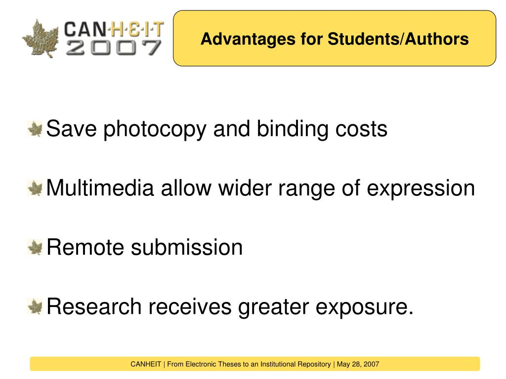 Advantages for Students/Authors