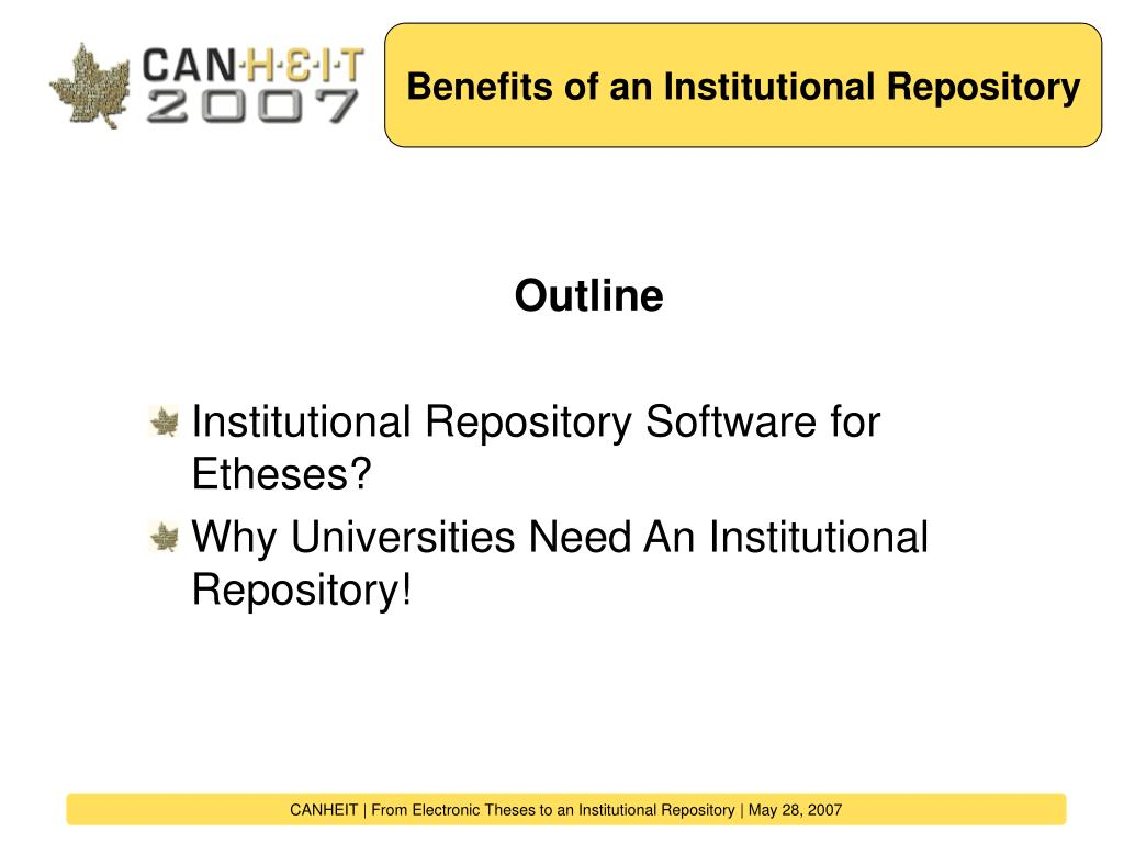 Benefits of an Institutional Repository