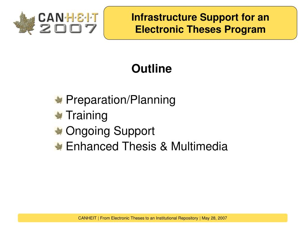Infrastructure Support for an Electronic Theses Program