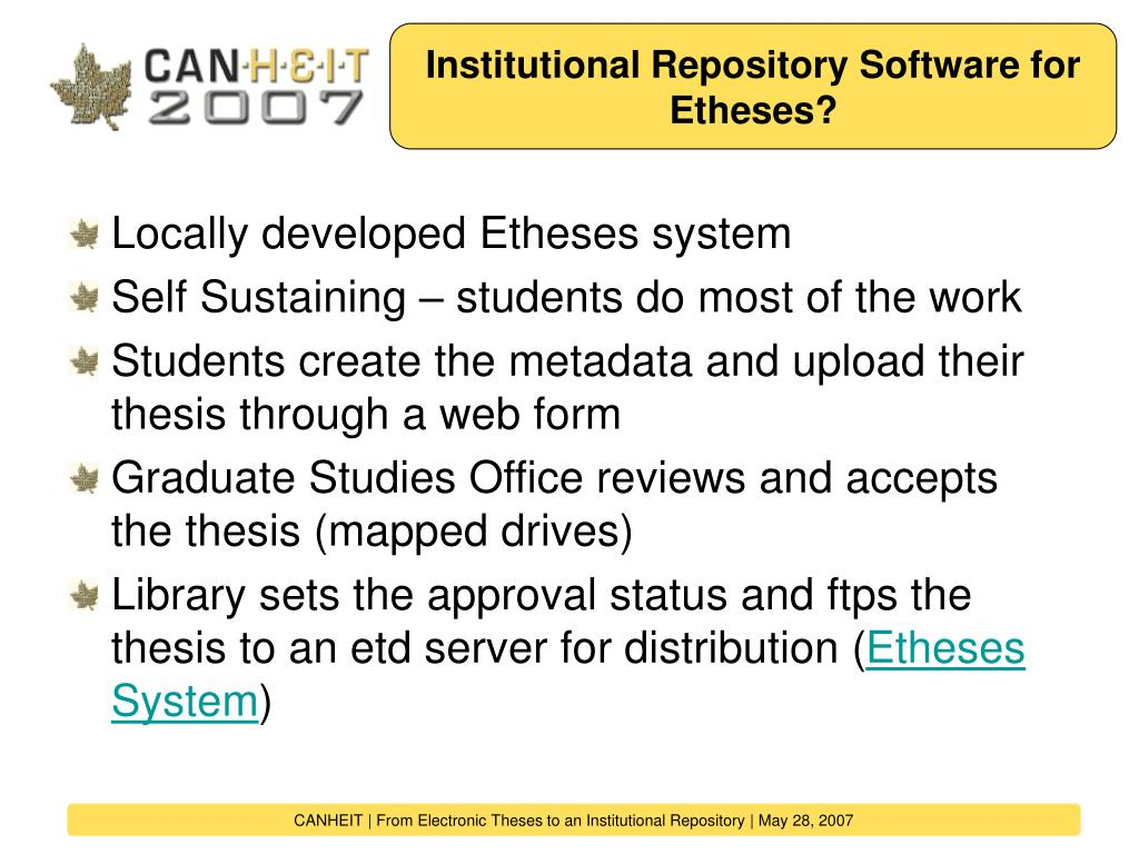 Institutional Repository Software for Etheses?