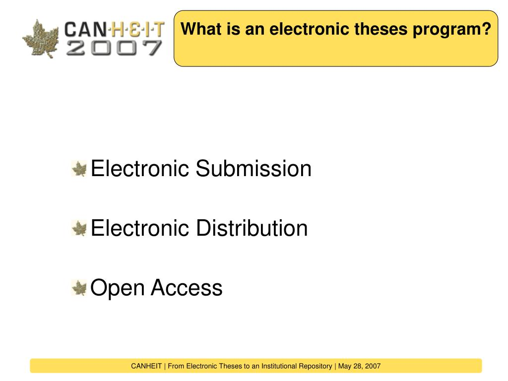 What is an electronic theses program?