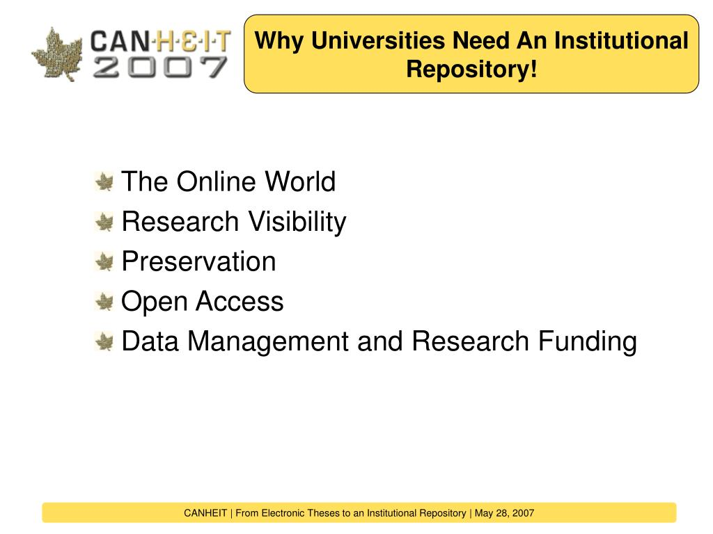 Why Universities Need An Institutional Repository!