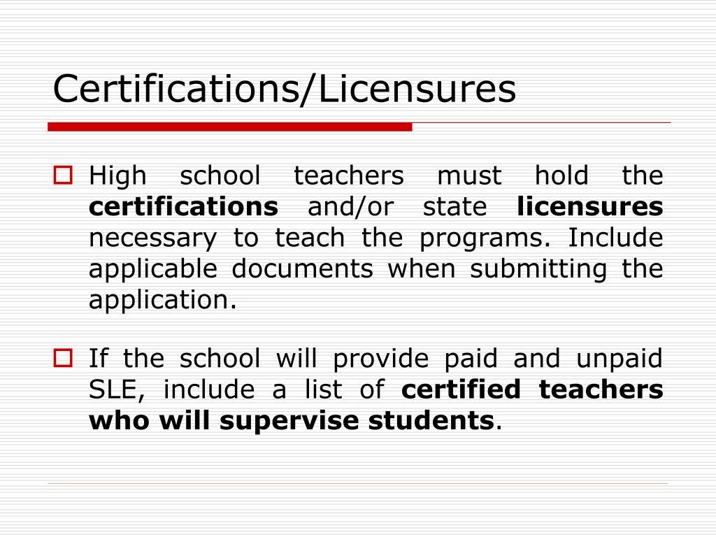 Certifications/Licensures