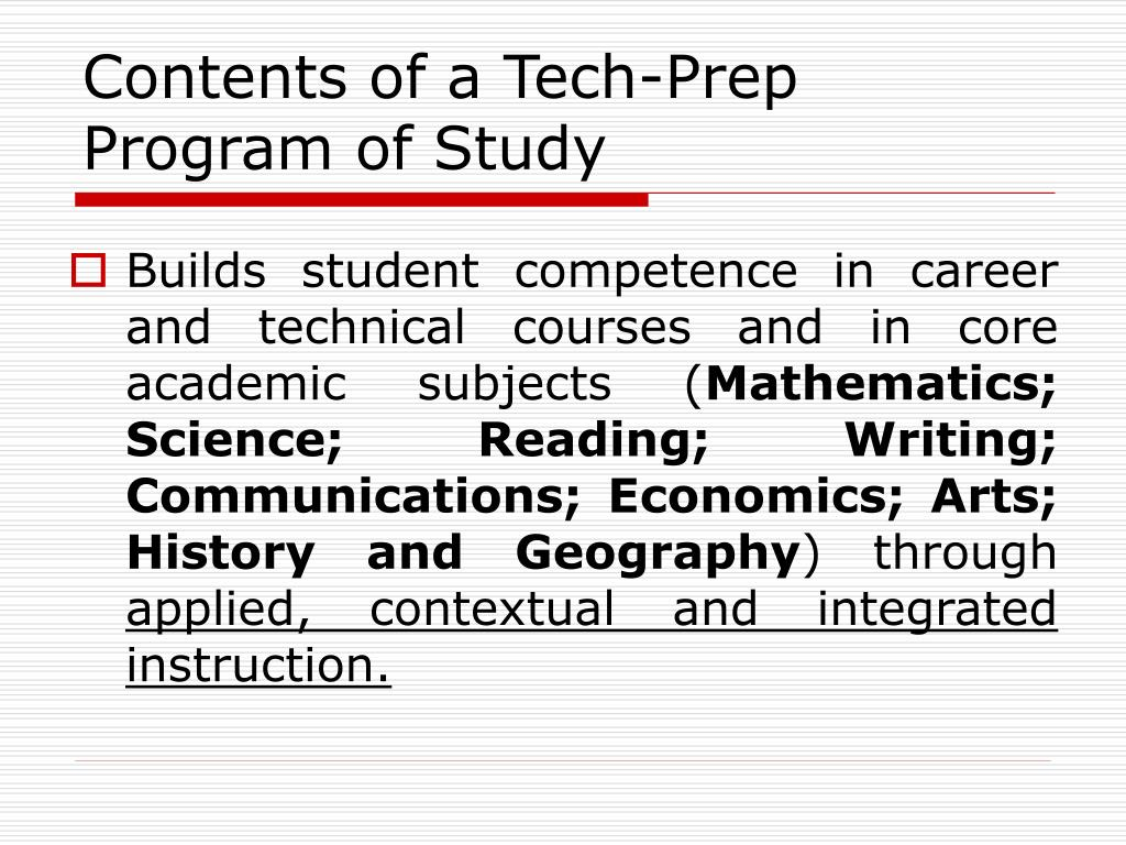 Contents of a Tech-Prep Program of Study