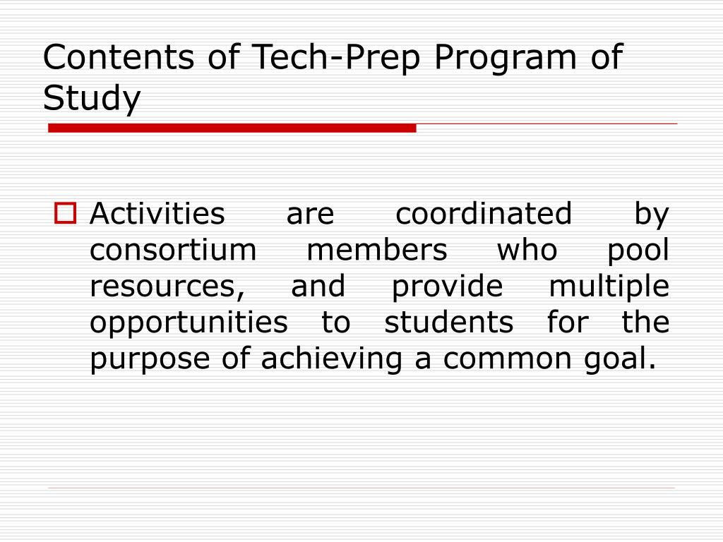 Contents of Tech-Prep Program of Study