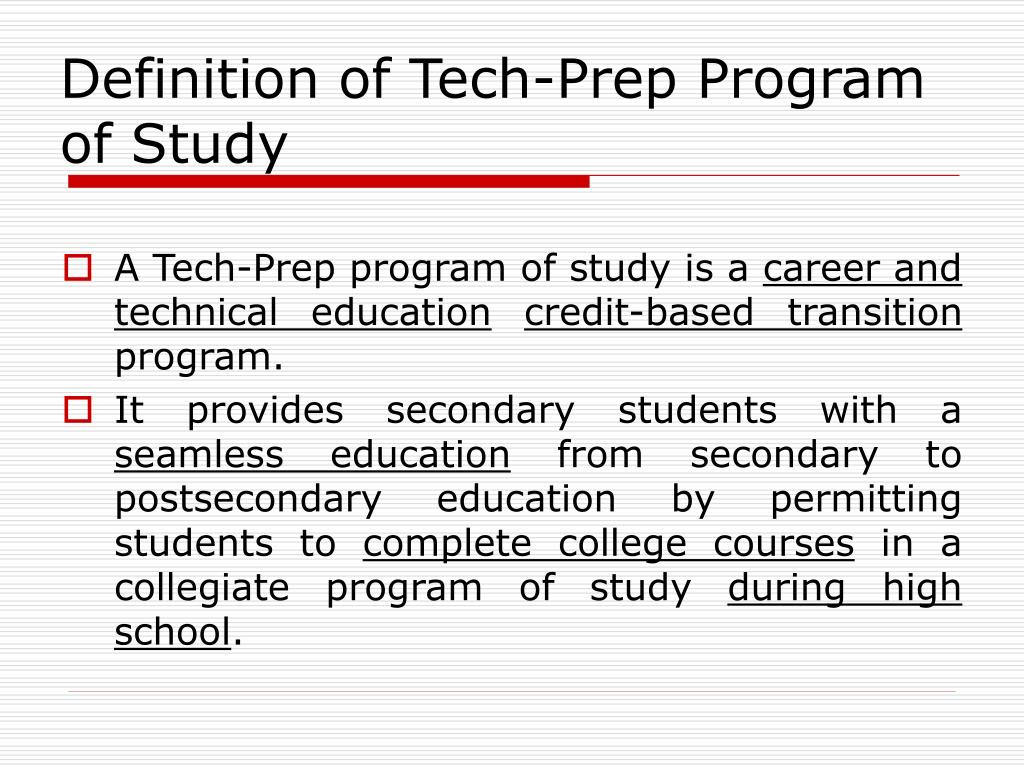 Definition of Tech-Prep Program of Study