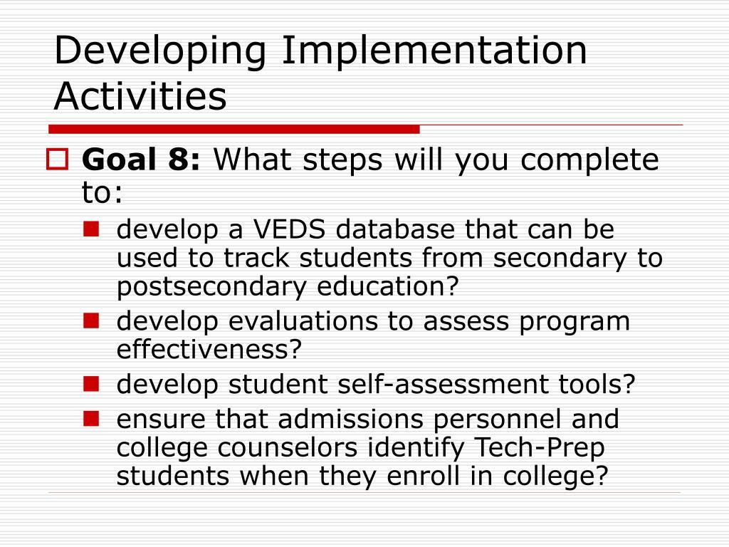 Developing Implementation Activities