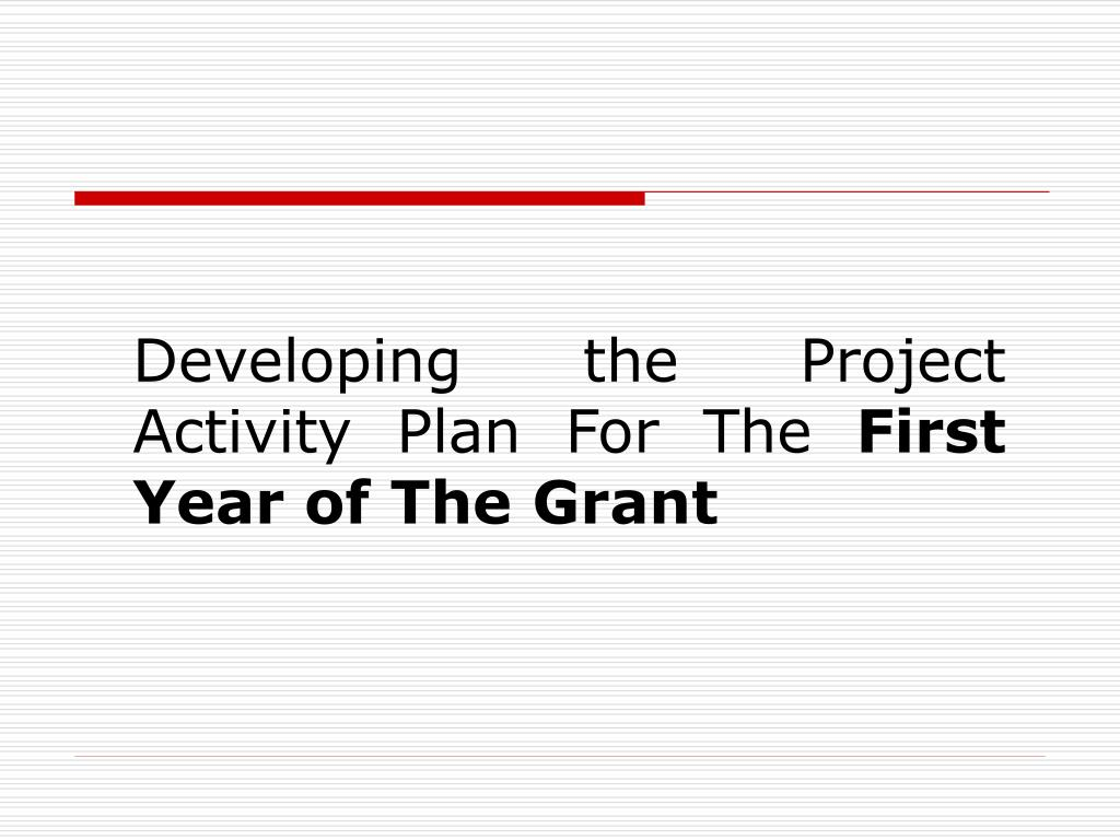 Developing the Project Activity Plan For The
