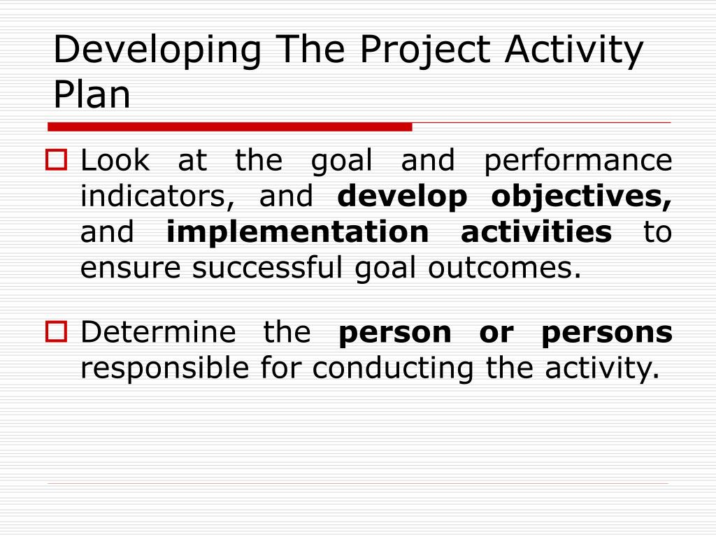 Developing The Project Activity Plan