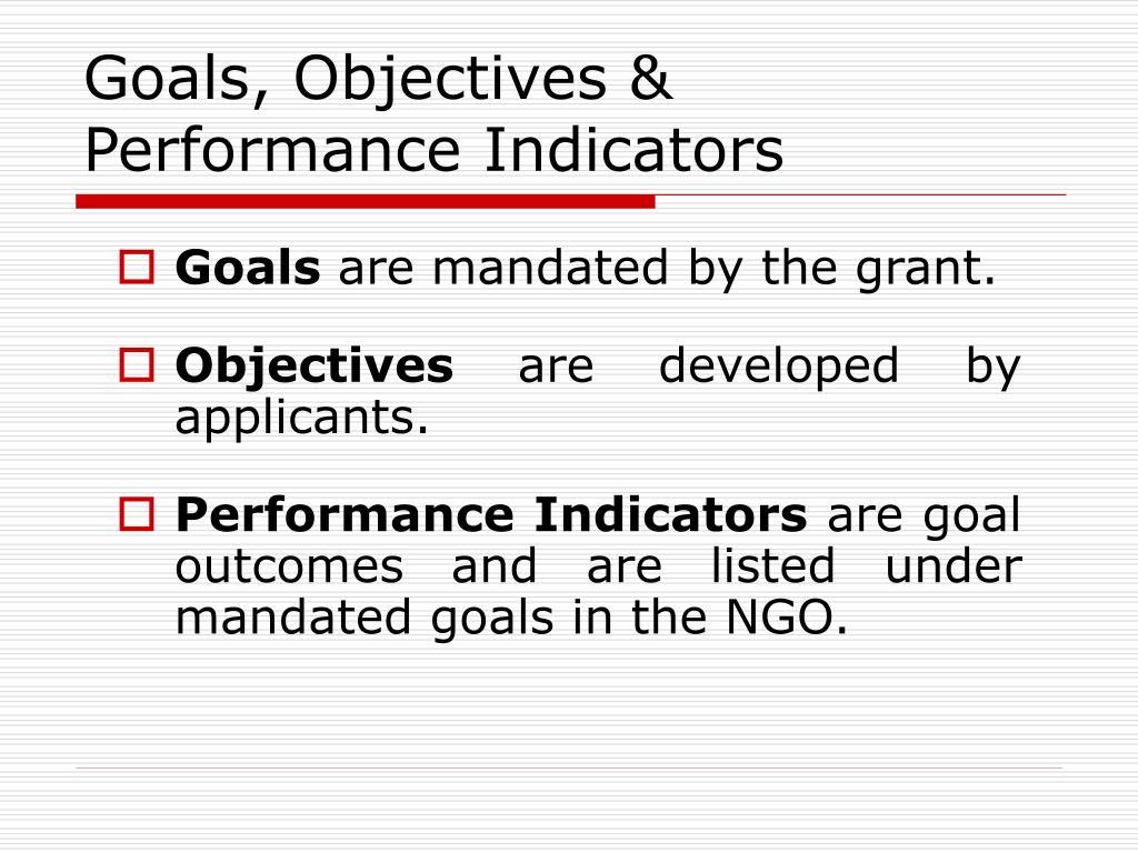 Goals, Objectives & Performance Indicators
