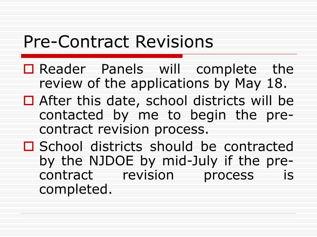 Pre-Contract Revisions