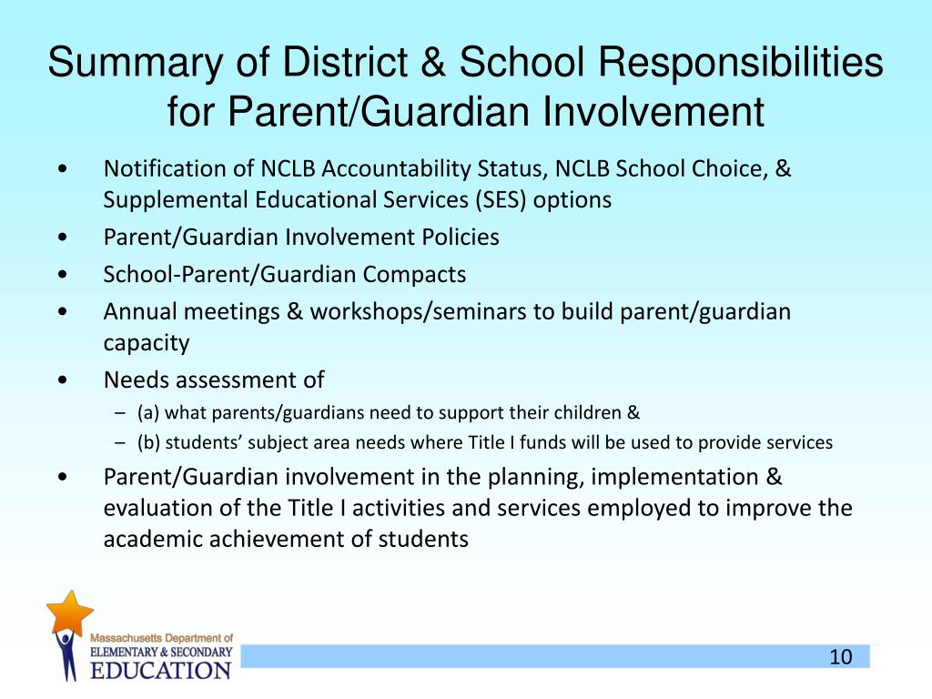 Summary of District & School Responsibilities for Parent/Guardian Involvement