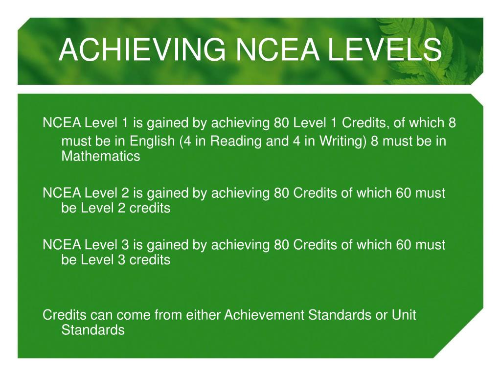 ACHIEVING NCEA LEVELS