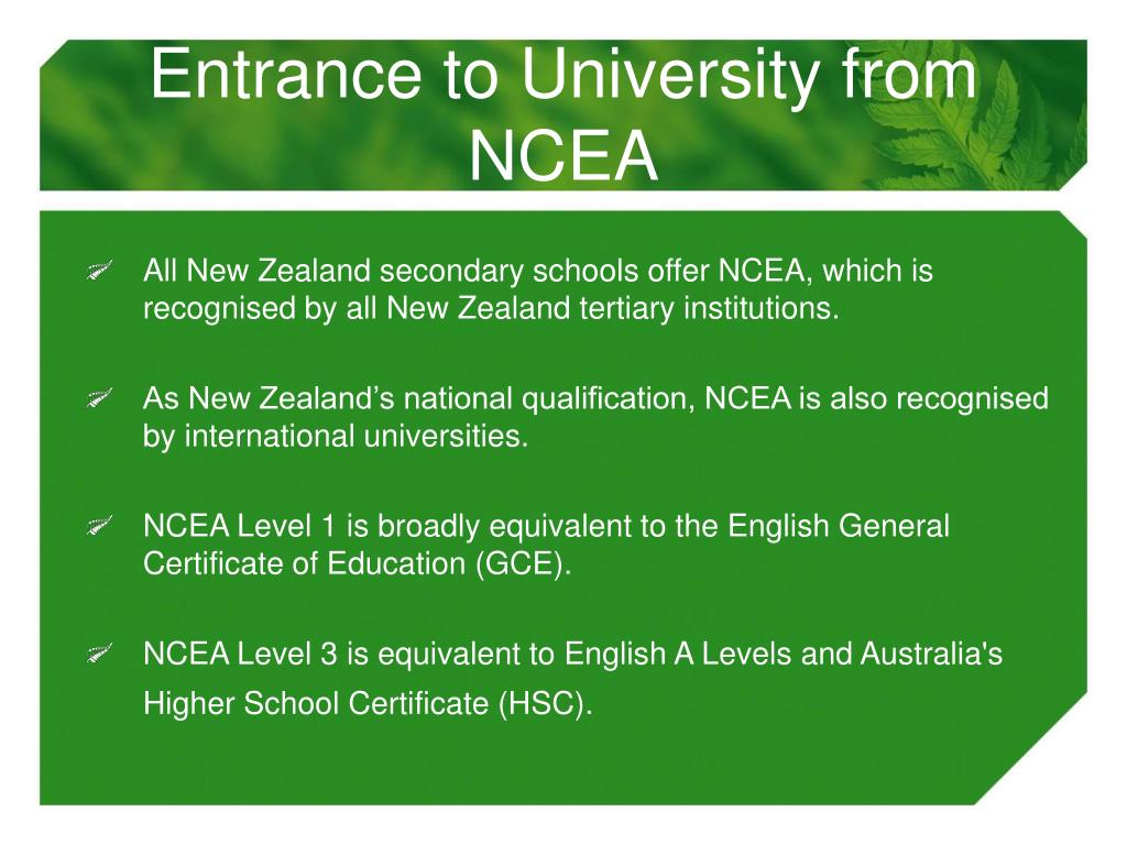 Entrance to University from NCEA