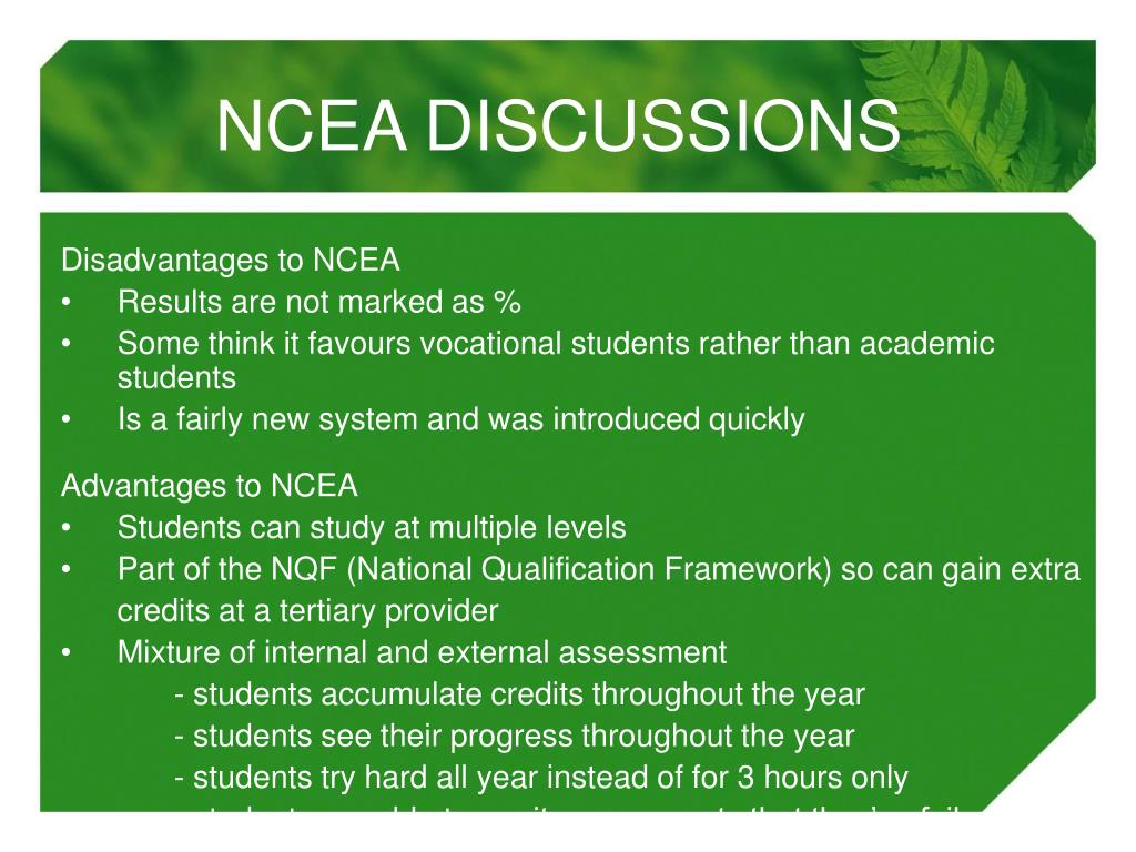 NCEA DISCUSSIONS
