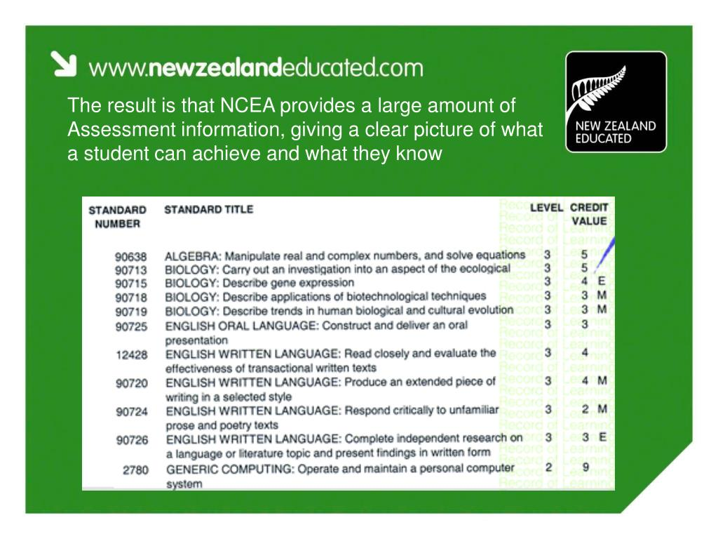 The result is that NCEA provides