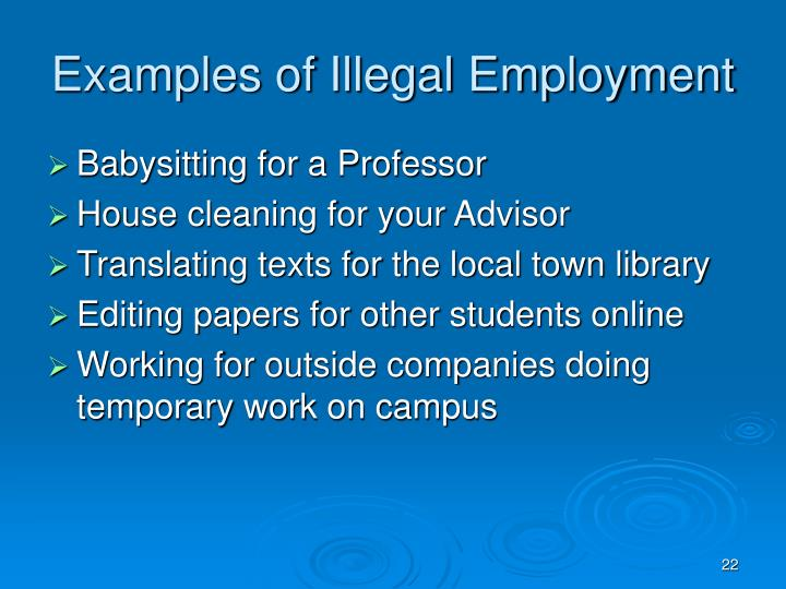 Examples of Illegal Employment