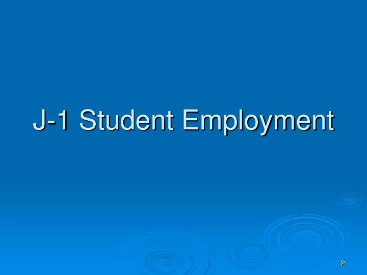 J-1 Student Employment