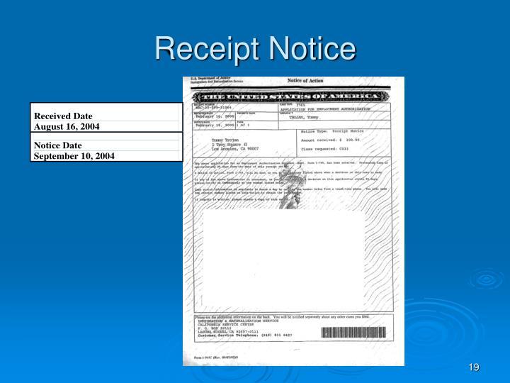 Receipt Notice