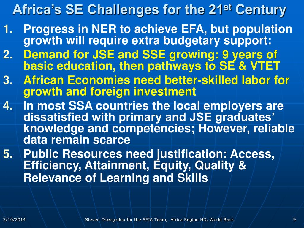 Africa's SE Challenges for the 21