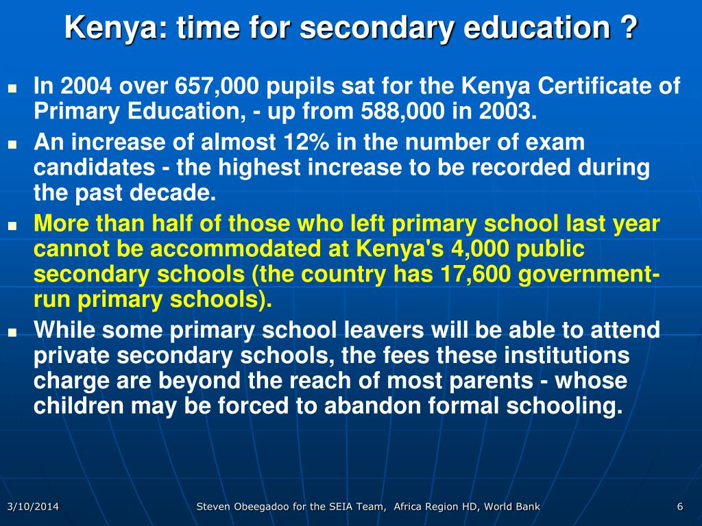 Kenya: time for secondary education ?