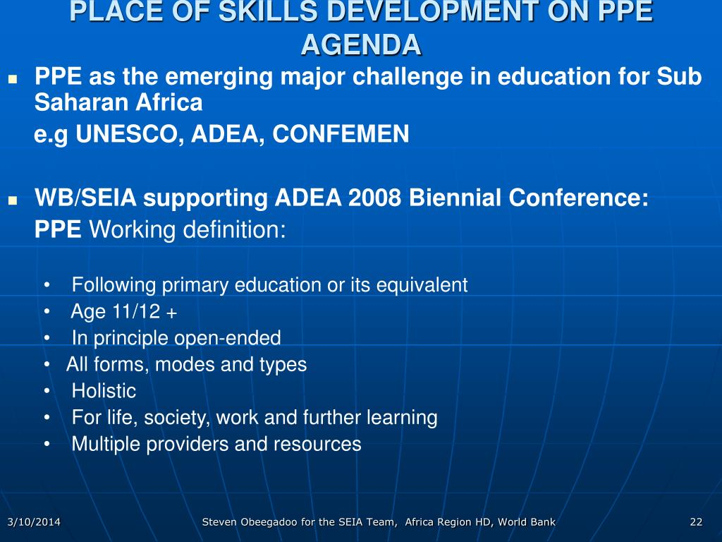 PLACE OF SKILLS DEVELOPMENT ON PPE AGENDA