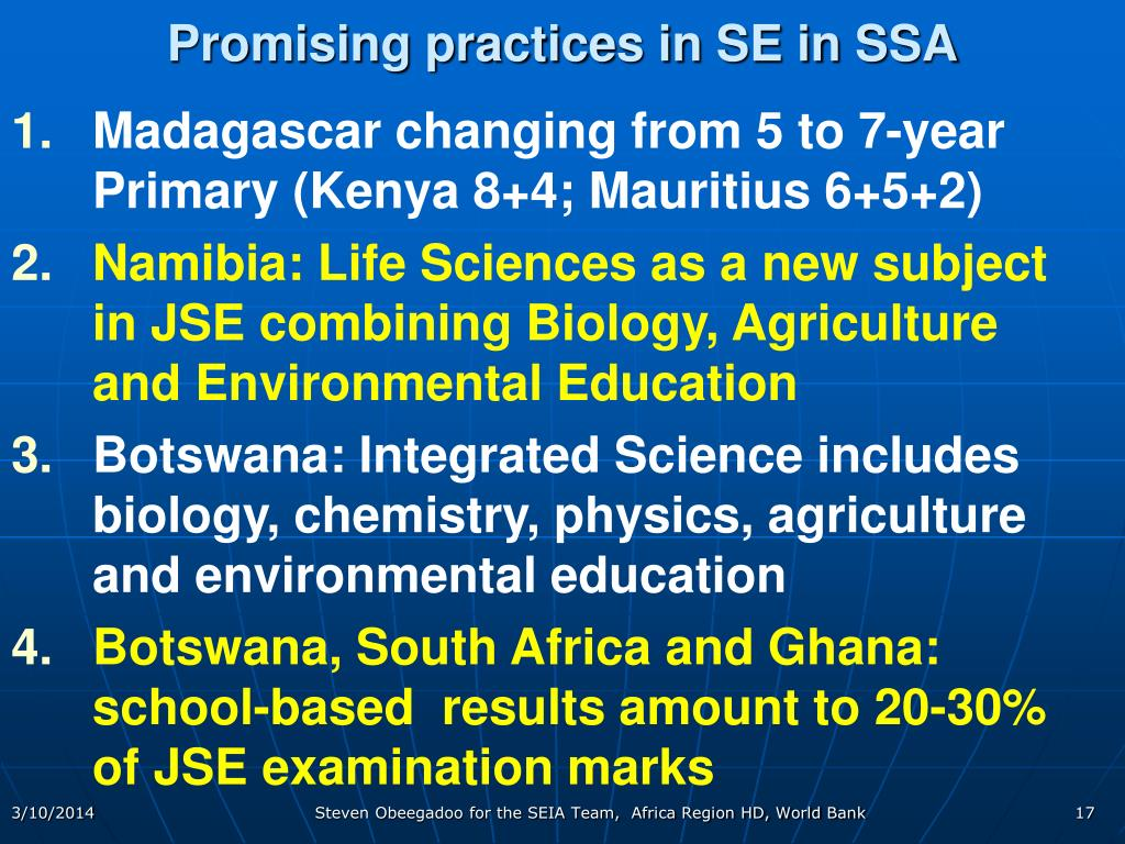 Promising practices in SE in SSA
