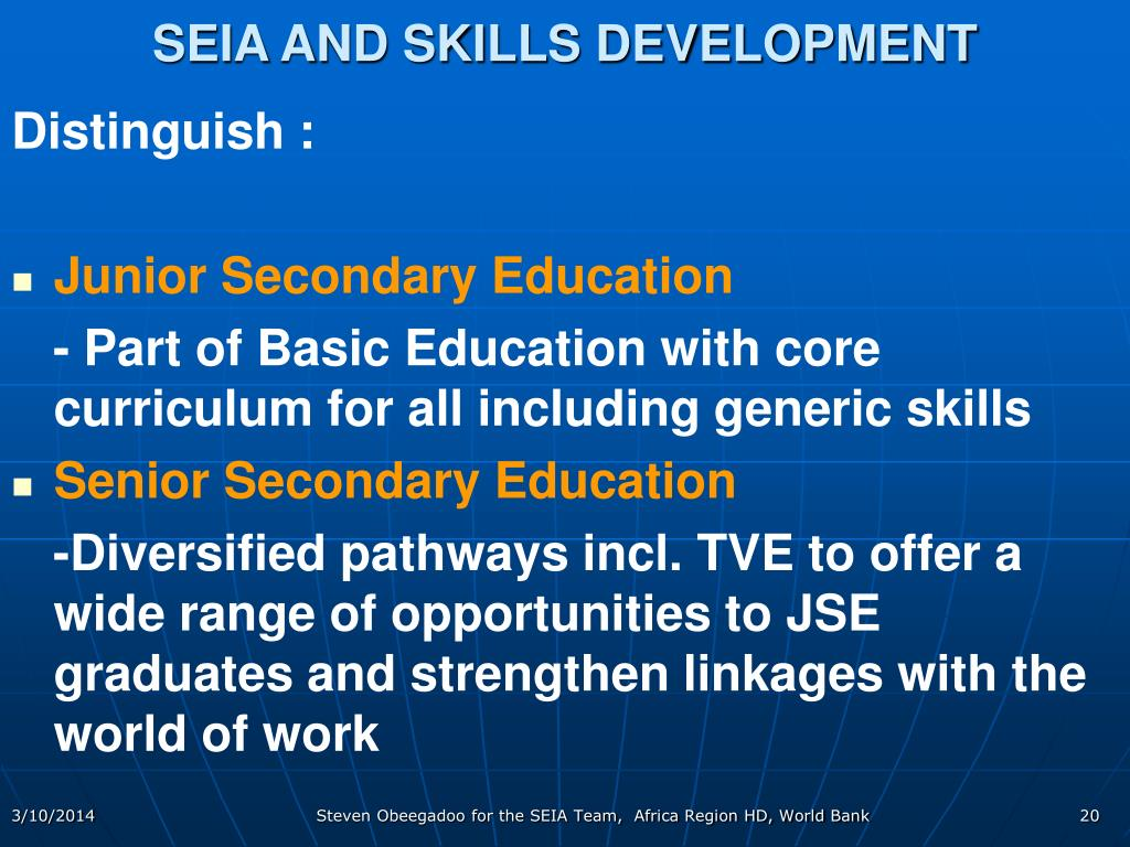 SEIA AND SKILLS DEVELOPMENT