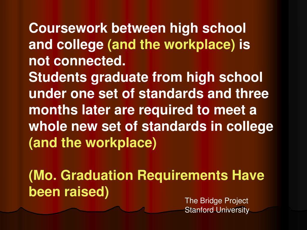 Coursework between high school and college