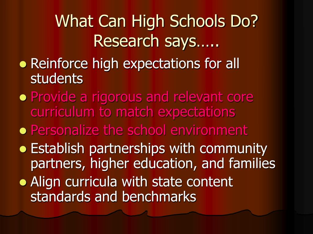 What Can High Schools Do?