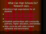 what can high schools do research says