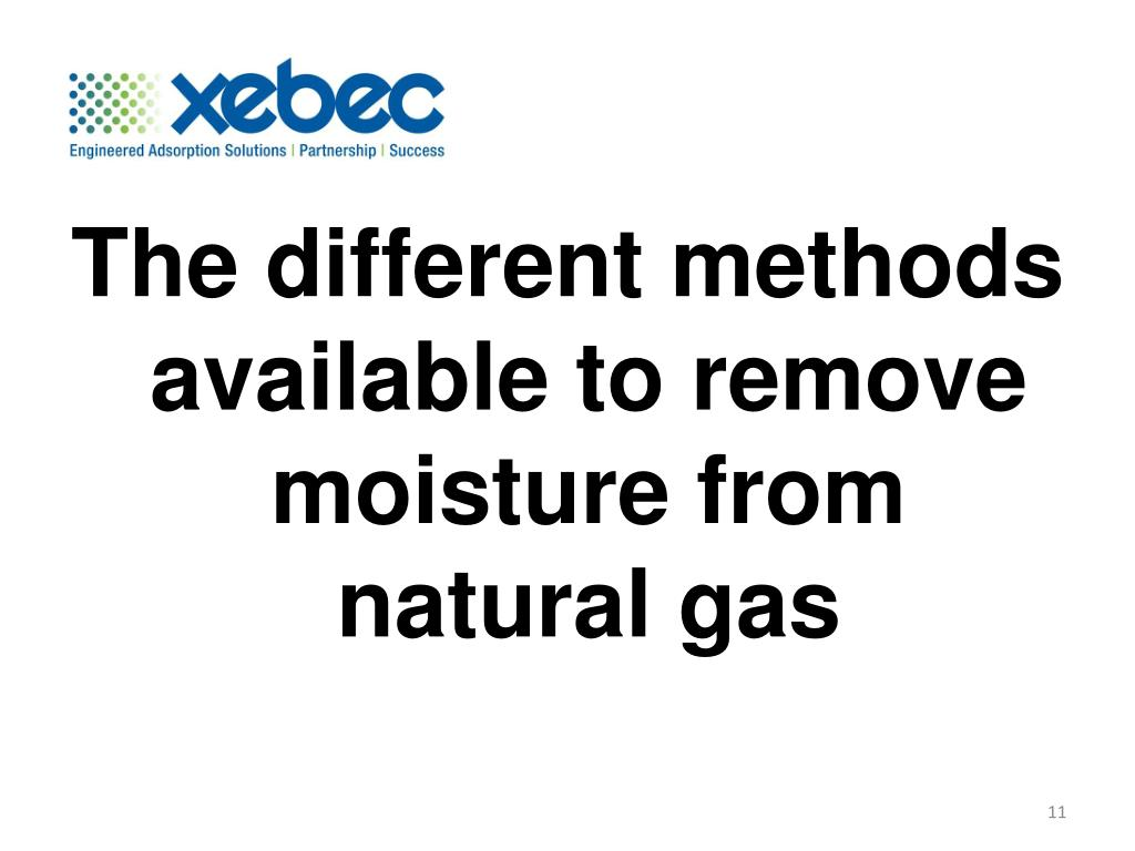 The different methods available to remove moisture from natural gas