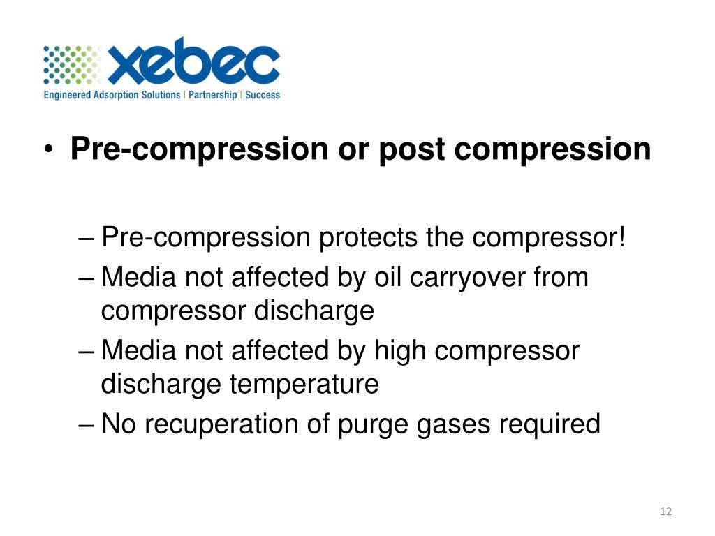 Pre-compression or post compression