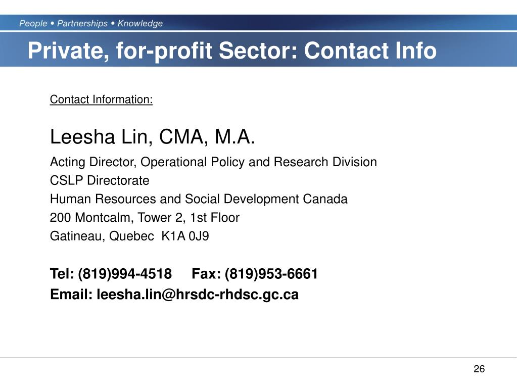 Private, for-profit Sector: Contact Info