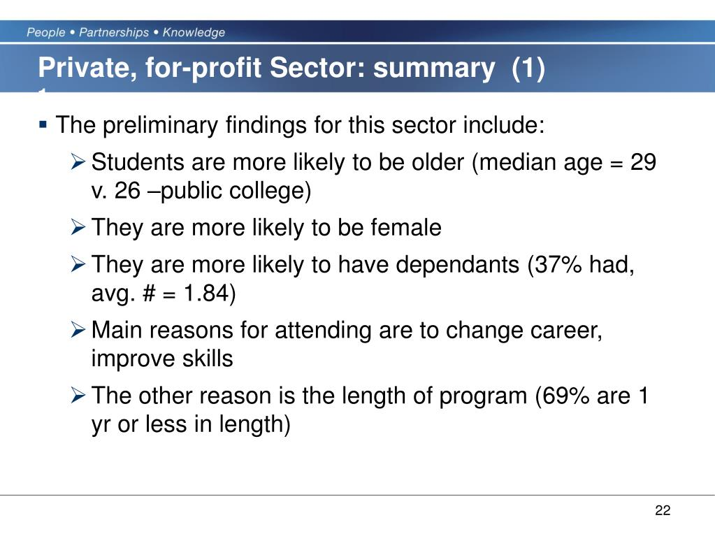 Private, for-profit Sector: summary  (1)