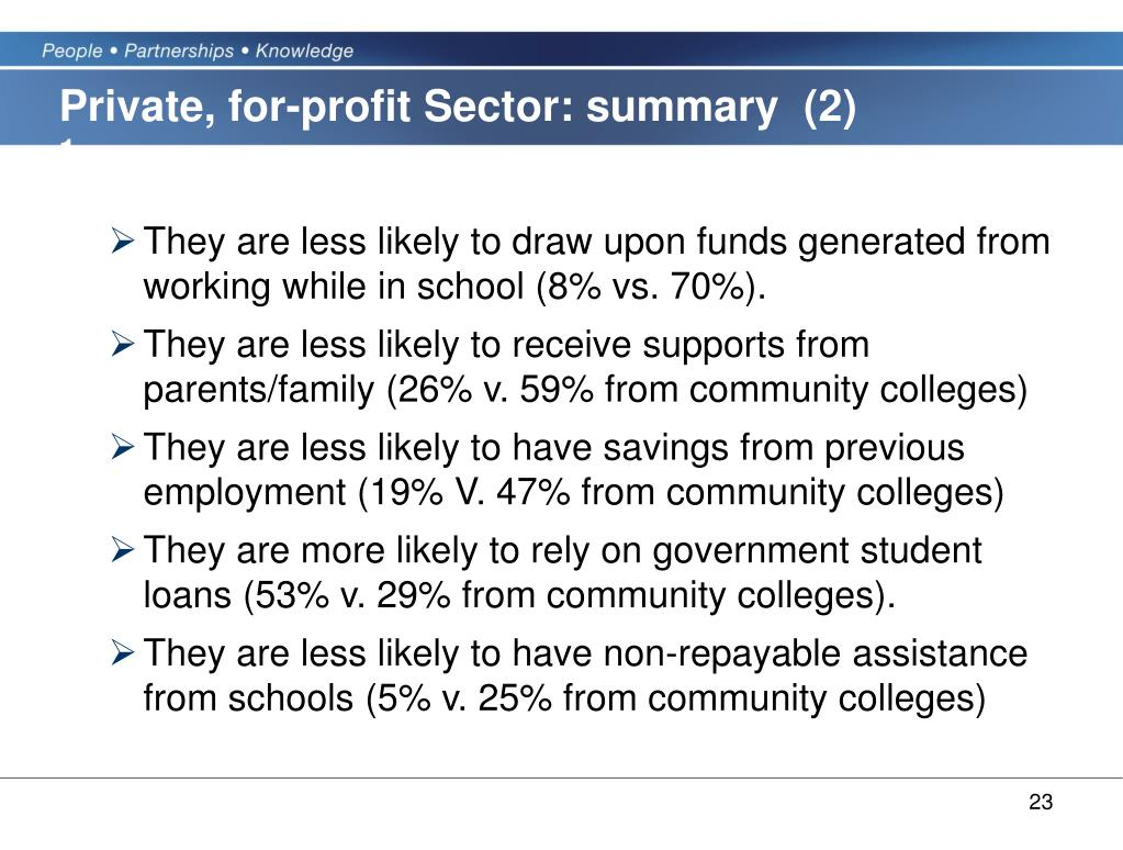 Private, for-profit Sector: summary  (2)
