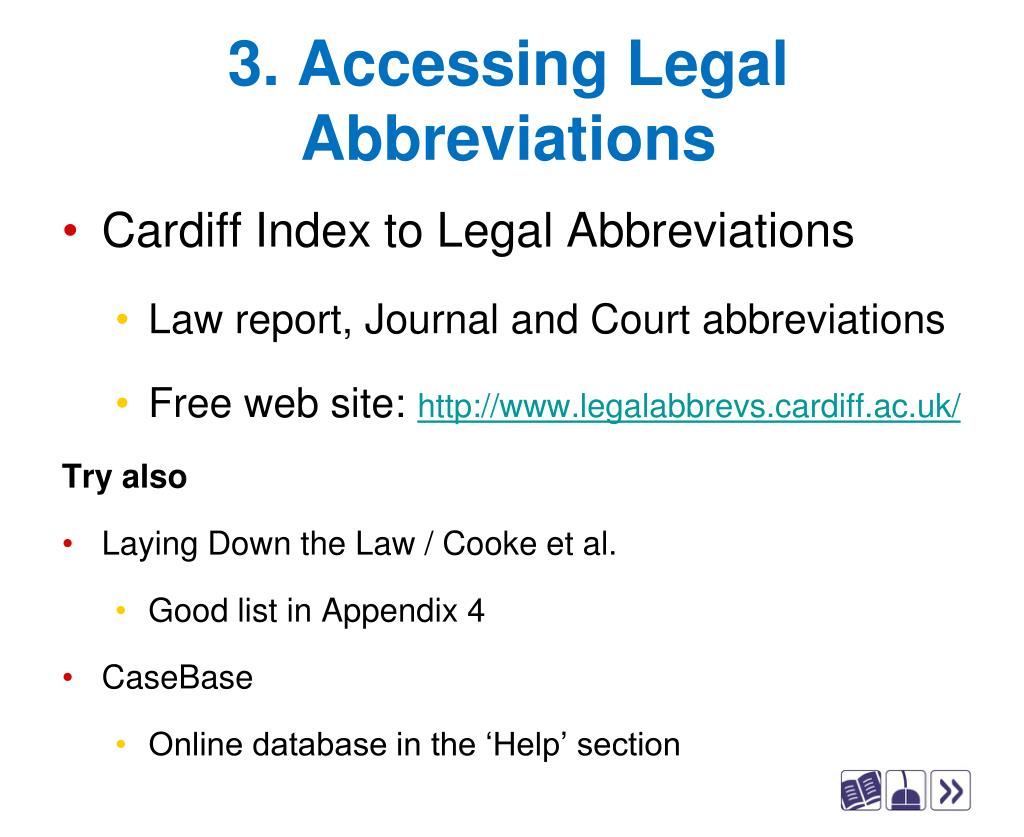 3. Accessing Legal Abbreviations